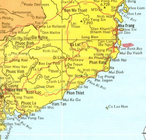 Bien Hoa and Phan Rang Location in Vietnam (1968 Map)